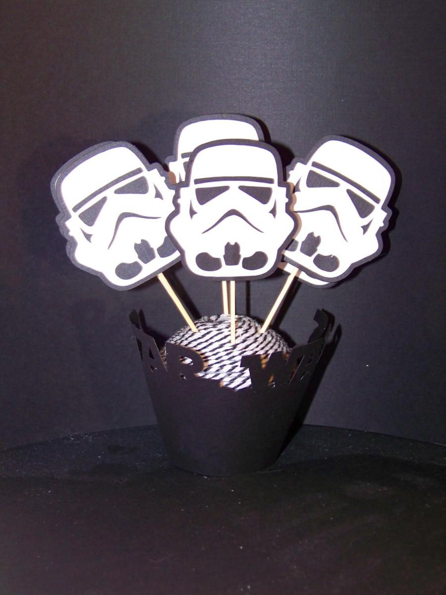 Mariage - Cupcake Wrappers & Toppers Star Wars Inspired 12 pc Party Set Star Wars Cupcake Wrappers and Storm Trooper Cupcake Toppers  Star Wars Party