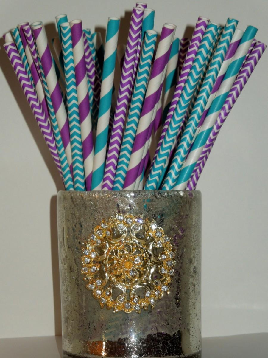50 teal purple paper straws teal peacock wedding decor under sea