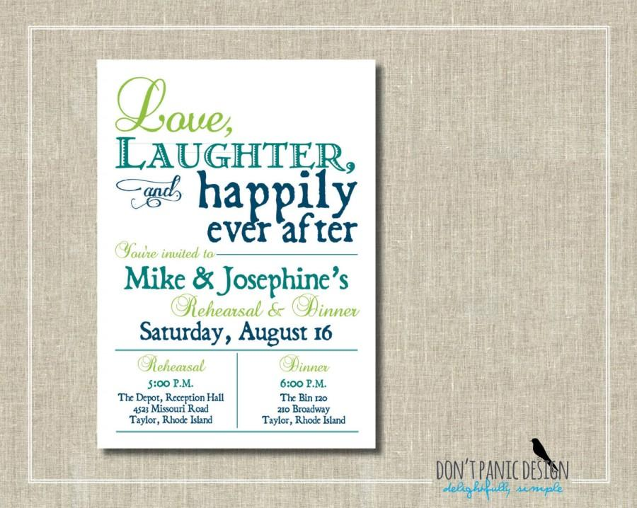 Hochzeit - Rehearsal Dinner Invitation - Printable Invitation - Love, Laughter, Happily Ever After - Lime Green Turquoise Blue