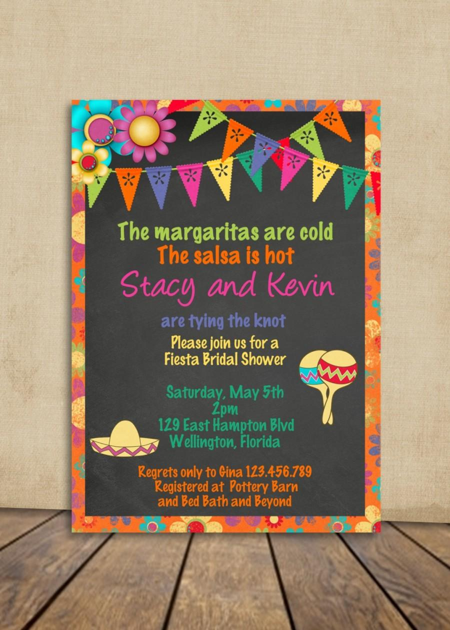 Mexican Fiesta Bridal Shower Invitation Chalkboard And Bright