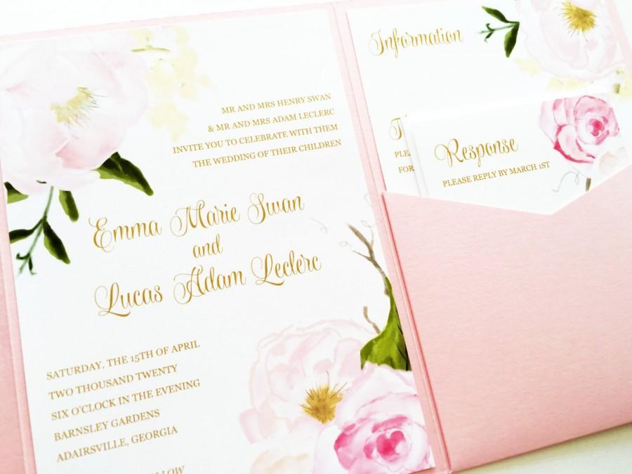 Wedding Invitation - Romantic Rose Pocketfold Wedding Invitation ...