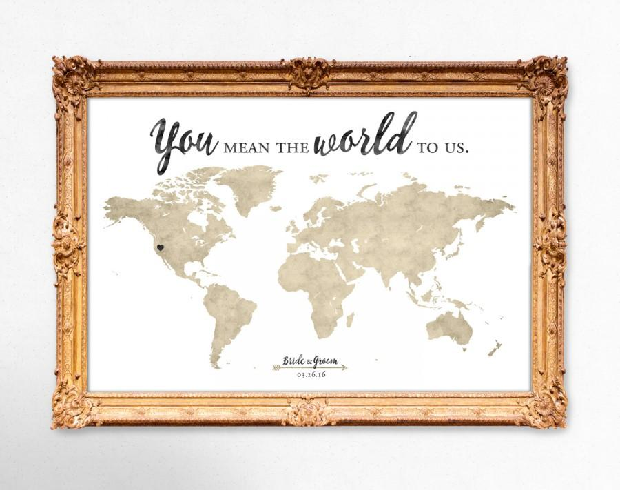 World Map Wedding Guest Book - You Mean The World To Us - 20x30 ...