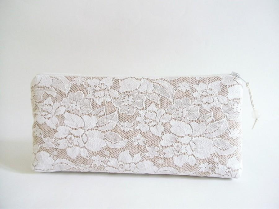 Romantic Date Night Clutch White Lace Wedding Purse For Bride