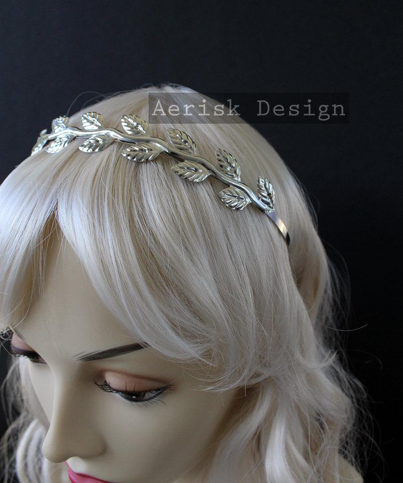 Wedding - Silver Goddess Laurel circlet (Muse Design, 3 color option) Vine Leaf circlet headband elven crown for Wedding,larp,vintage 1940s bride