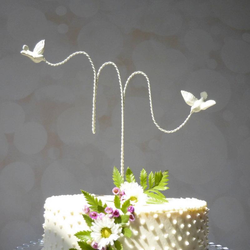 Свадьба - Initial Wedding Topper, Wire Cake Topper, Custom Wire Wedding Cake Topper with Love Birds, Cake Topper