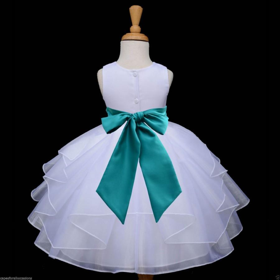 White Flower Girl Dress Tie Sash Pageant Wedding Bridal Recital