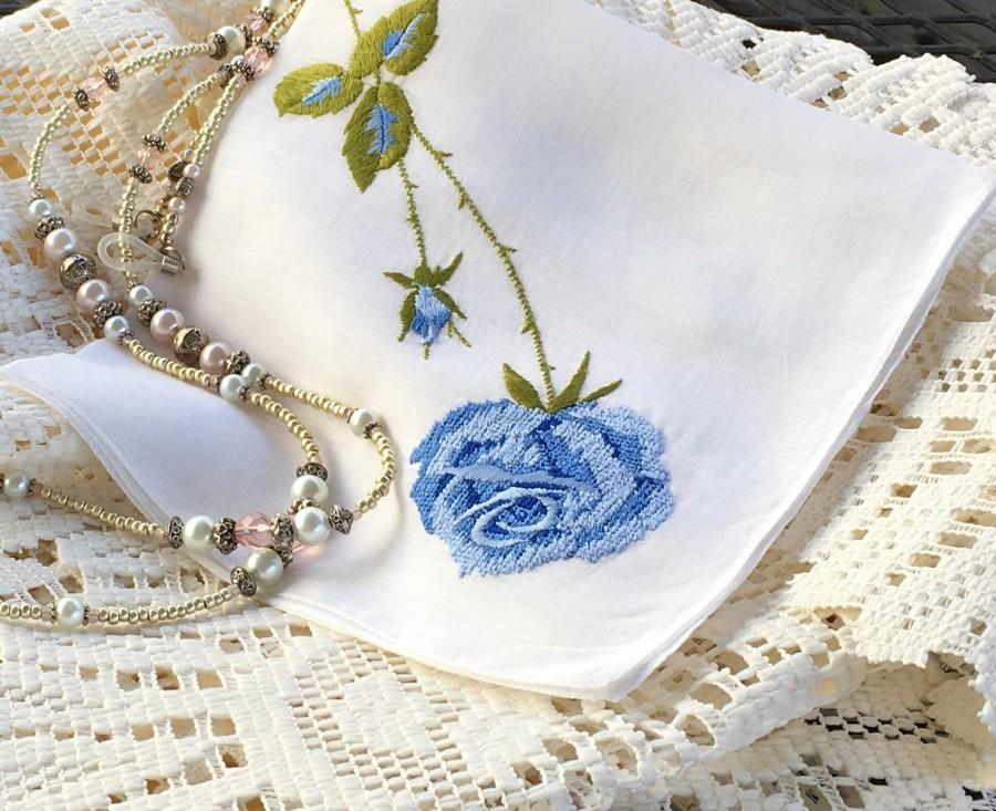 Wedding - Vintage Hankie Blue Embroidered Hankies White Bridal Something Blue Thinking of You Mother of the Bride Gift Get Well Cotton Linen #1