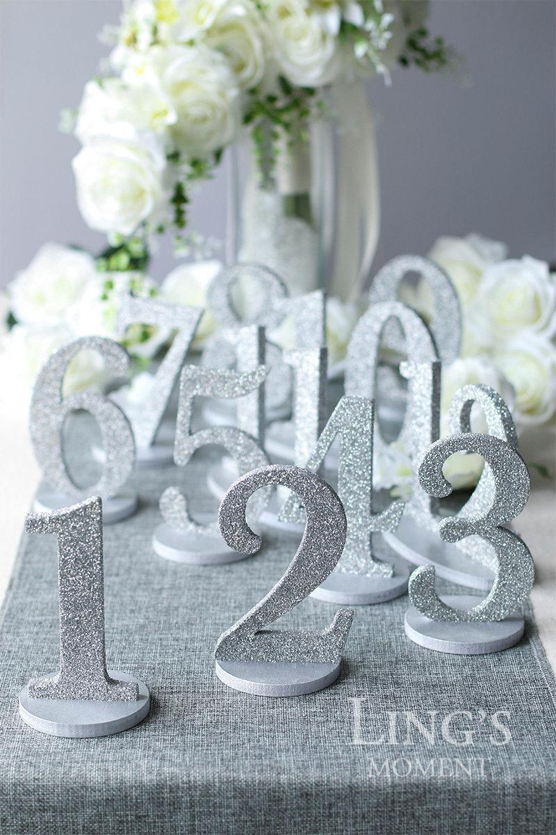 Table numbers 1 25 set glitter wedding table numbers gold for Glitter numbers for centerpieces