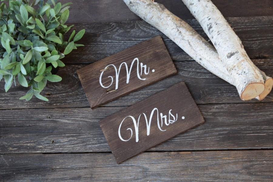 Mr And Mrs Wooden Wedding Chair Signs Custom Decor Sweet Table