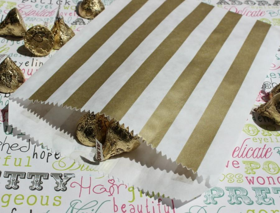 Свадьба - 200 Gold Stripe Party Bags, Gold Wedding Candy Bags, Gold Metallic Favor Bags, Gift Bags, Popcorn Bags, Gold Candy Bags