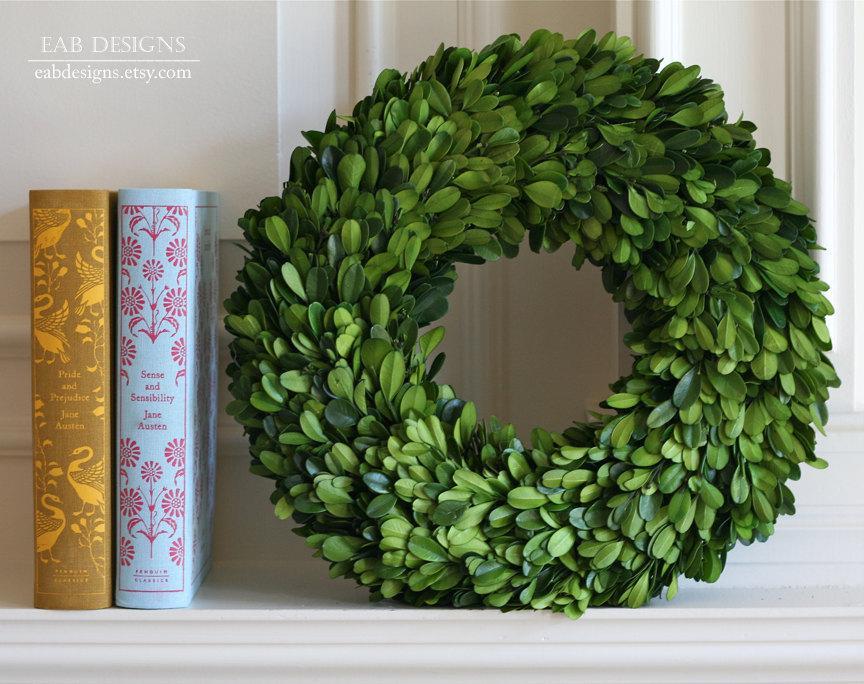 """Mariage - Boxwood Wreath, Preserved Boxwood Wreath, 12"""", Large Boxwood Wreath"""