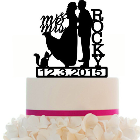 Mariage - Custom Wedding Cake Topper , Couple Silhouette and any Dog of your choise or Cat with free base for display.after the event