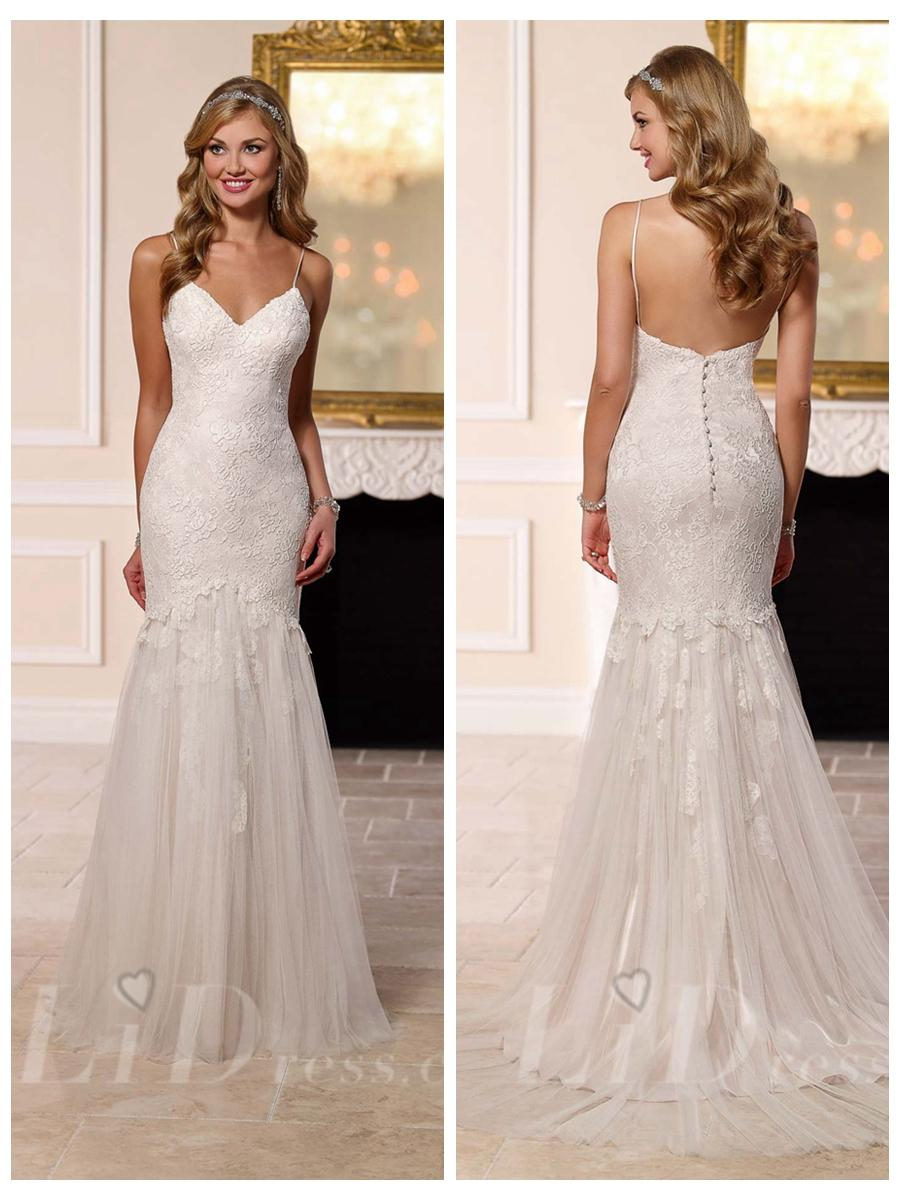 Mariage - Spaghettis Straps Sweetheart Fit and Flare Wedding Dress