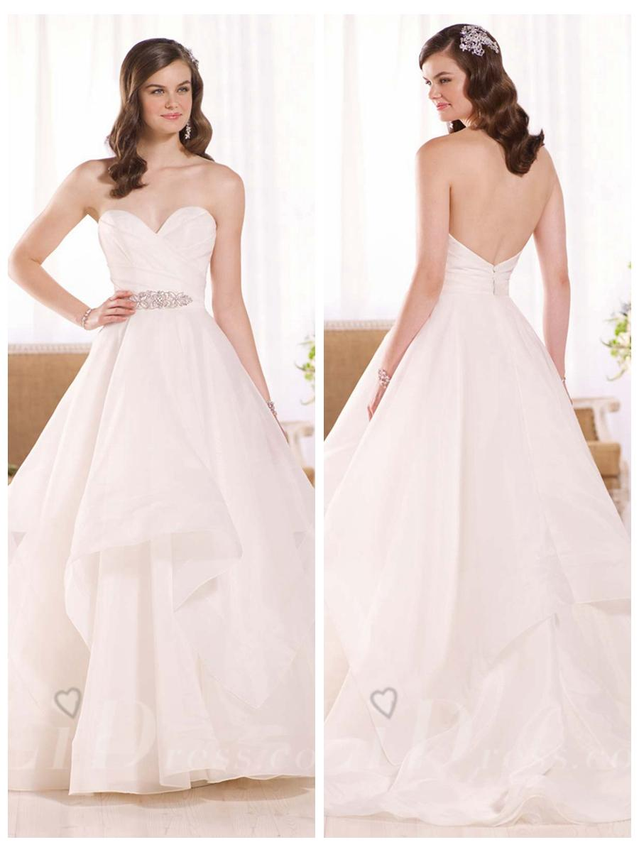 Wedding - Strapless Ruched Sweetheart Wedding Dress with Layered Skirt
