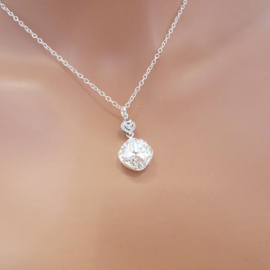 Simple Wedding Necklace Crystal Bridal Necklace Wedding Jewelry