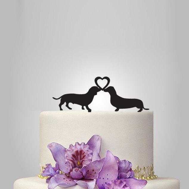 زفاف - dachshund silhouette Wedding Cake topper with heart , weding cake topper, birthday cake topper, funny cake topper,, winner cake topper