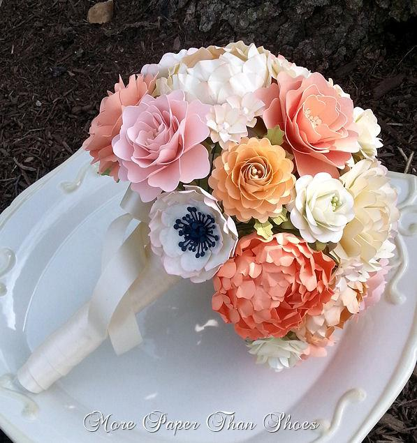 Wedding - Paper Bouquet - Paper Flower Bouquet - Wedding Bouquet - Country White and Peach - Sahbby Chic  - Custom Made - Any Color