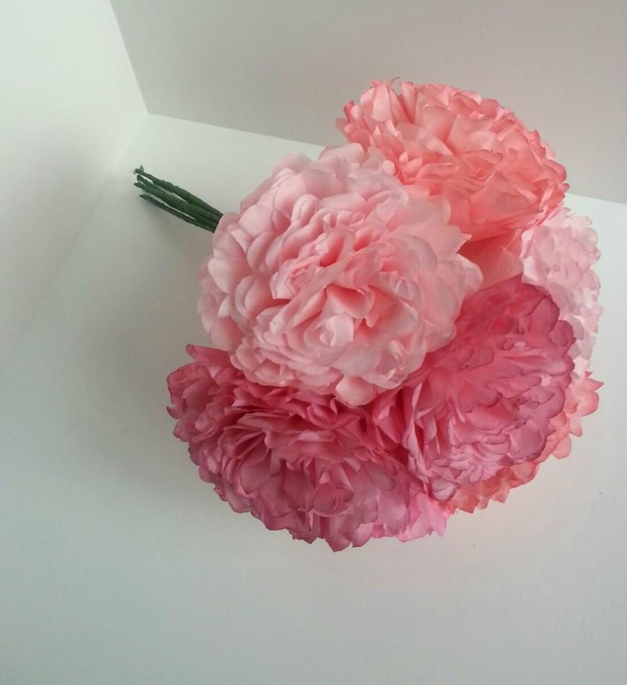 Paper Flower Bouquet Shades Of Pink Peony Rose Hand Dyed Wedding Bridesmaid Bridal Shower Baby Reception Centerpiece