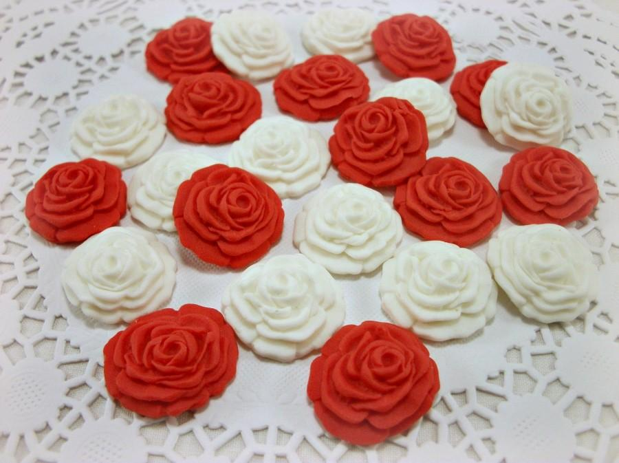 valentine candy flower wedding fondant edible sugar favor rose cake cupcake topper gumpaste red white baby bridal shower party set 36