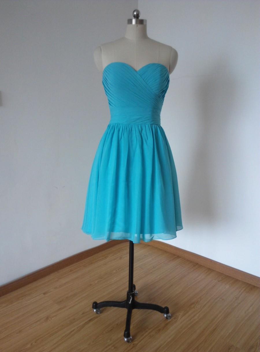 Turquoise blue bridesmaid dress the for Blue short wedding dress