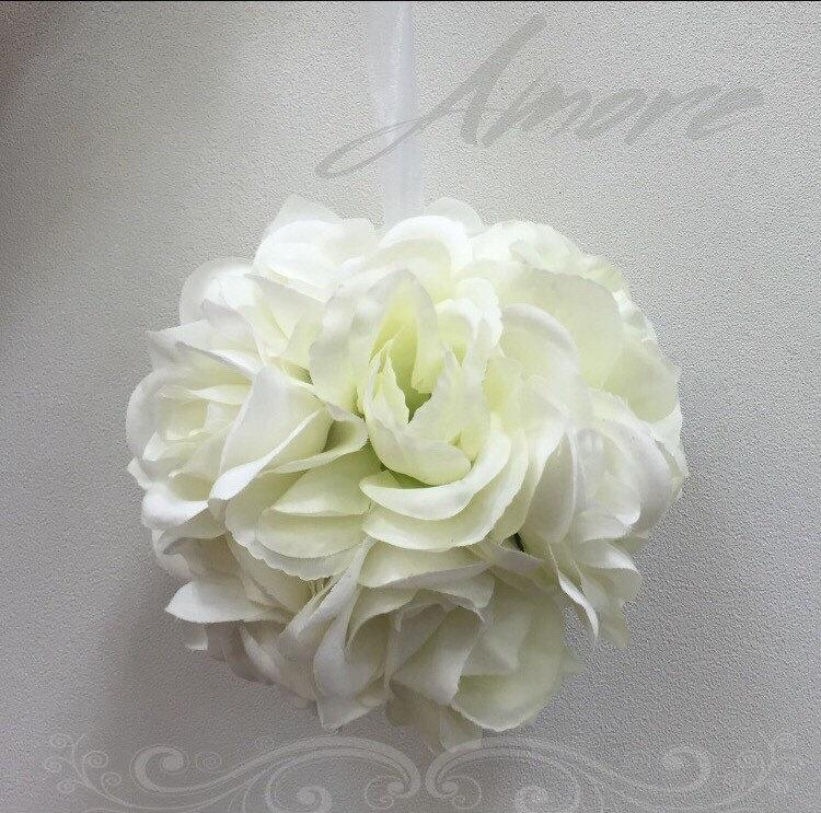 Four elegant cream white wedding flower kissing ball white pomander four elegant cream white wedding flower kissing ball white pomander white wedding centerpiece flower girl ball luxury silk flower mightylinksfo