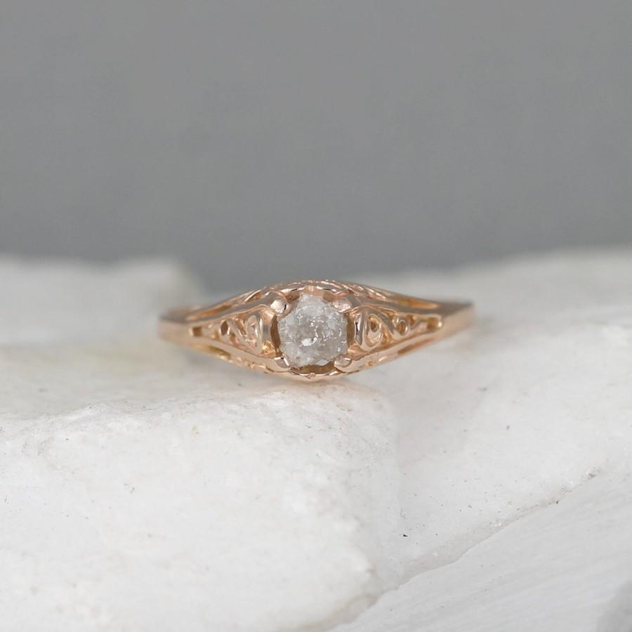 14K Pink Gold And Raw Diamond Ring - Antique Style ...