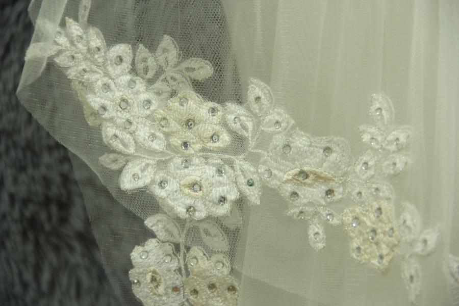 زفاف - 2 Layer  bridal veil Wedding veil - white ivory veil - veil complex Gulei Si - Crystal + comb, fingertip veil,