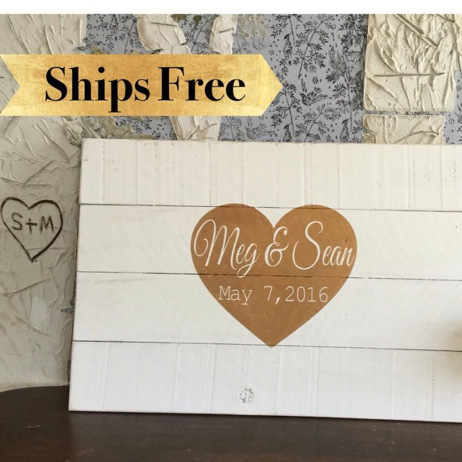 Wedding Guest Book Alternative Gold And White Signs Rustic Signage Personalized Sign Wood Plank Art Cedar