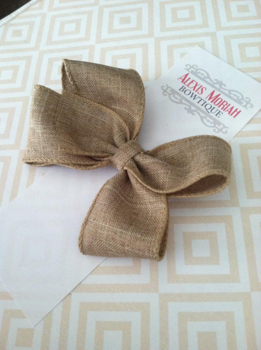زفاف - Boutique Hair Bow - Natural Khaki Linen Hair Bow - Baby Girl Toddler Teen Hairbow - Rustic Wedding Bow - Lined Alligator Clip