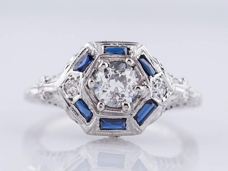 Свадьба - Art Deco Engagement Ring Antique .51ct Old European Cut Diamond in 18k White Gold