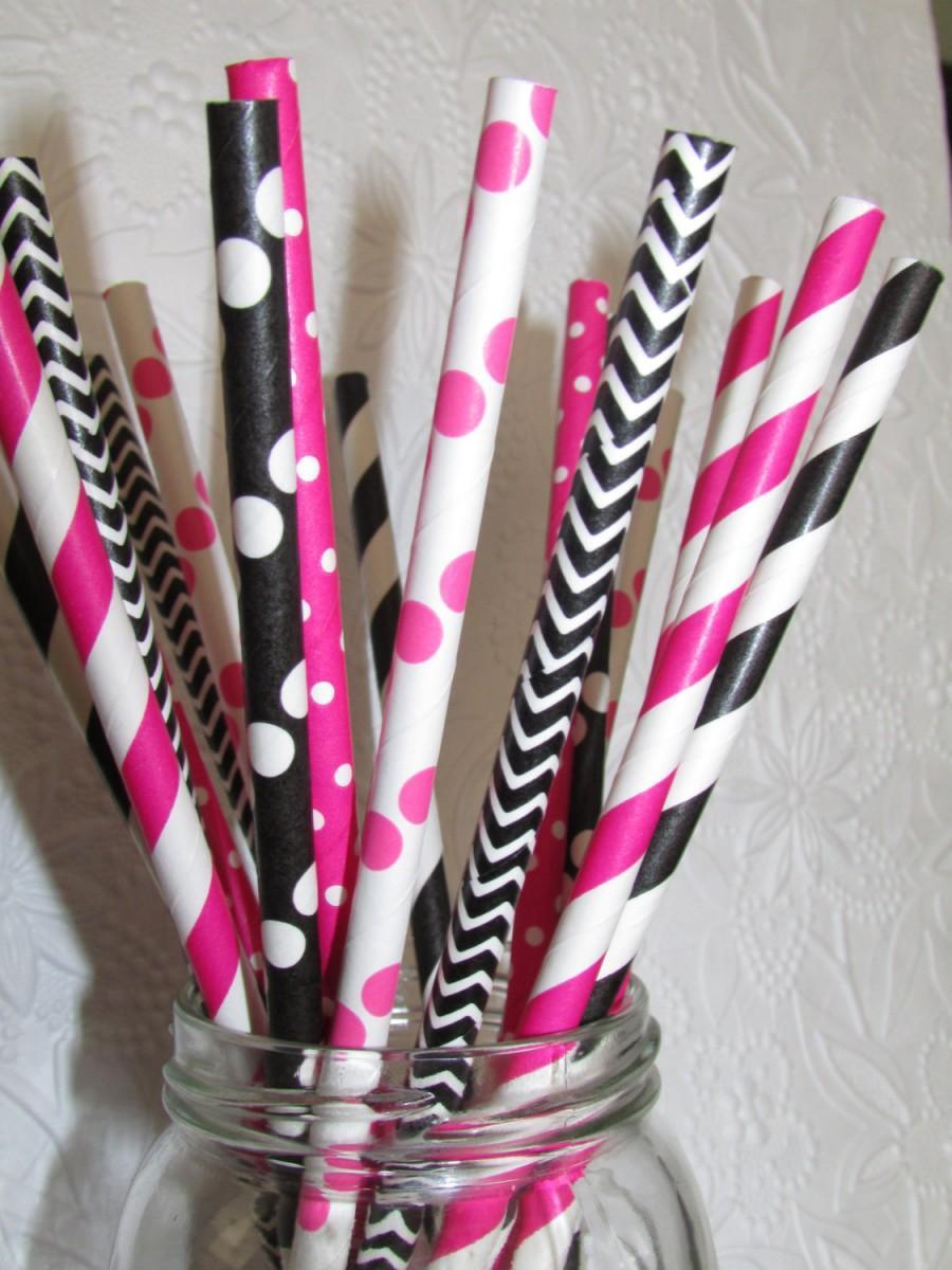 زفاف - 50 Pink Mouse Paper Straws - Pink and Black Stripes Dots Chevron DiY Flags- Kids Birthday Baby Shower-Ships Fast from USA