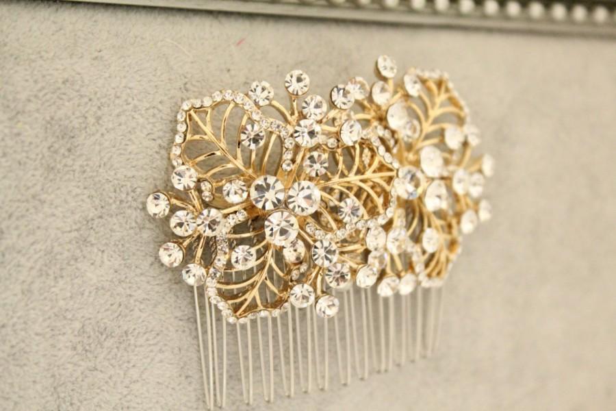 زفاف - Gold Wedding hair comb Gold Wedding hair piece Gold Wedding hair accessories Gold Bridal hair comb Gold Wedding comb Bridal hair piece comb