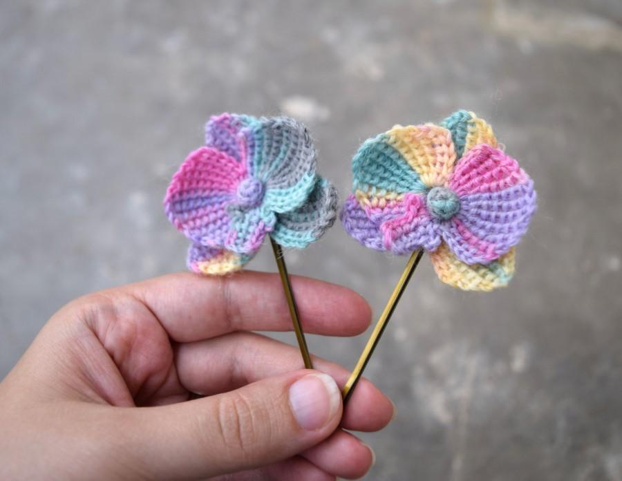 زفاف - Bridal orchid hairpins, pastel rainbow colored orchid flowers, crocheted orchid flowers