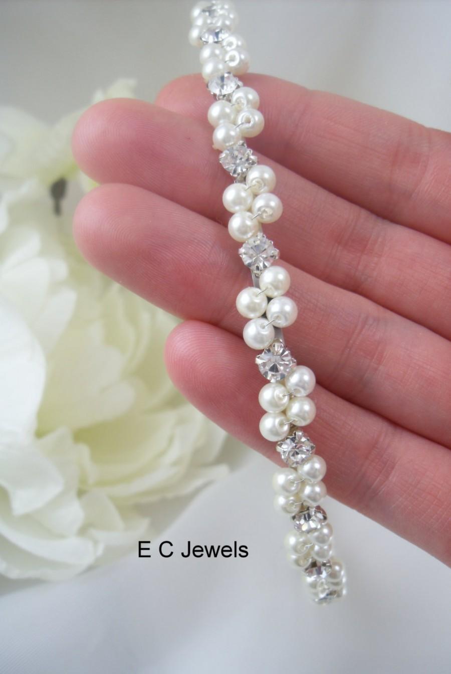 Hochzeit - Wrapped Pearl and Rhinestone Bridal Tiara / Headband