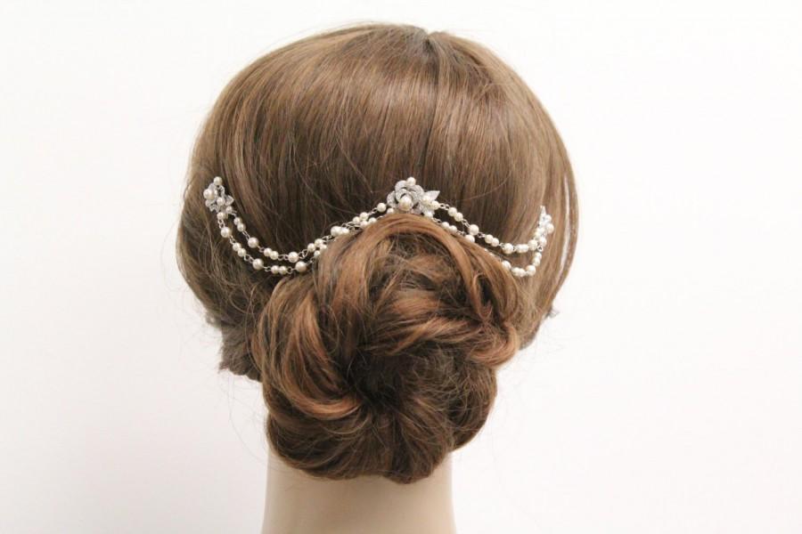 Свадьба - Bridal hair chain Pearl Wedding hair accessories Bridal hair jewelry vintage style Wedding hair chain Bridal hair piece Wedding headpiece