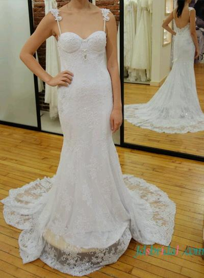 Fitted Lace Sheath Wedding Dress With Straps Low Back