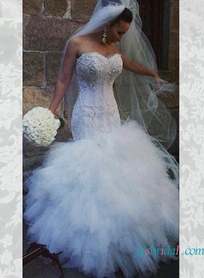 Strapless Curvy Lace Mermaid Wedding Dress With Ruffles #2503676 ...