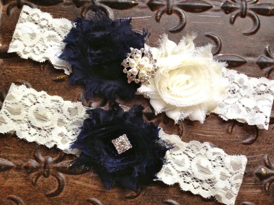 Mariage - Navy Blue Wedding Garter, Something Blue Wedding Garter, Navy Blue Ivory Garter Set, Navy Blue Bridal Garter, Ivory Lace Wedding Garter