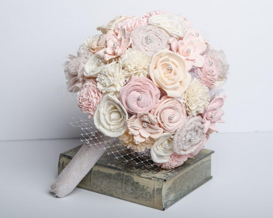 Romantic Wedding Bouquet,Blush Ombre Sola Flower Bridal Bouquet ...