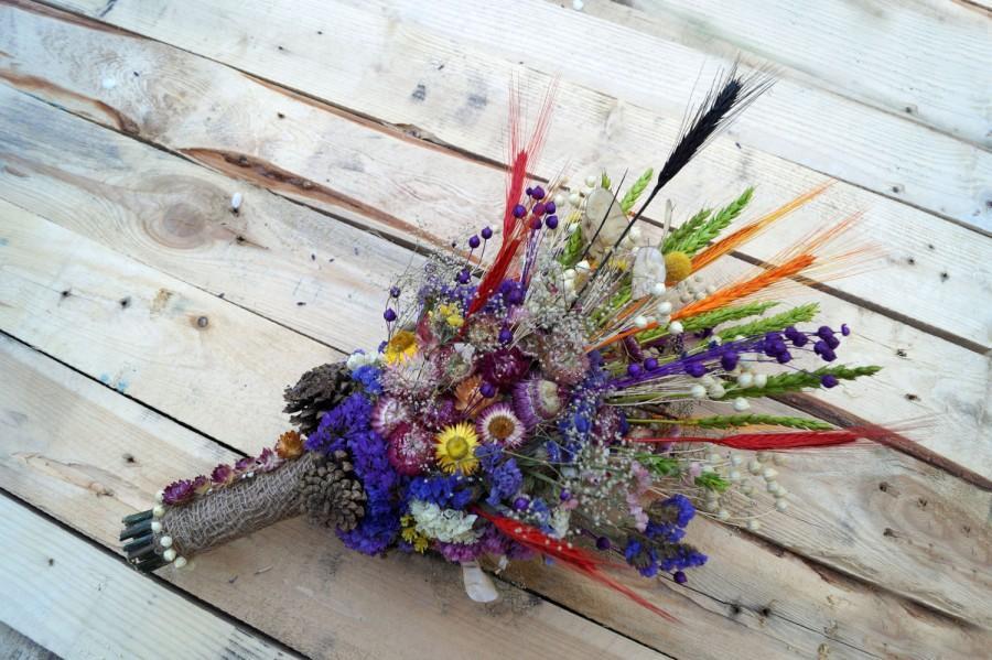 Mariage - Wedding dried flowers, wild flowers bouquet, lavender bouquet, wedding bouquet, strawflower, limonium, baby's breath, wedding arrangement