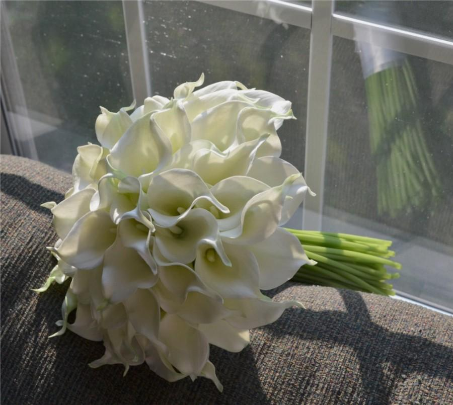 Wedding - Creamy White, Real Touch, Calla Lily Bouquet with 60 Callas
