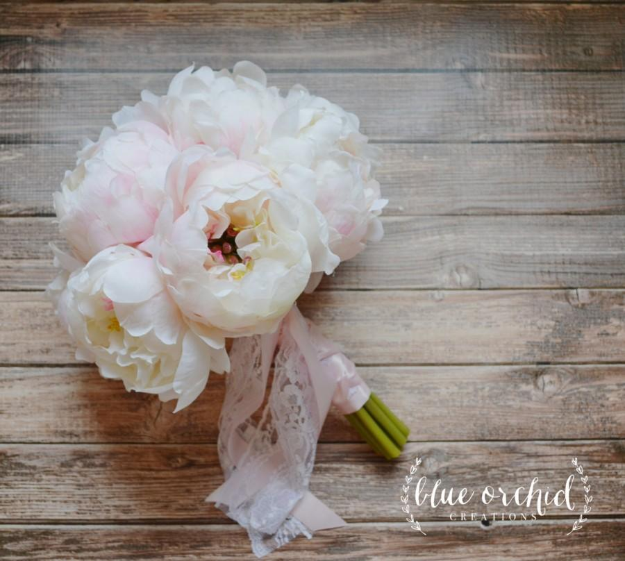 Свадьба - White Cream Peony Bouquet with Pink Highlights Hand Tied With Satin and Lace