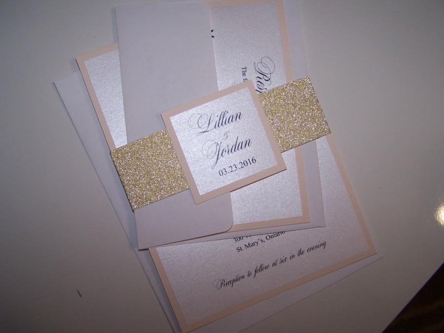 Mariage - Blush and Gold Glitter Wedding Invitation - Blush Gold/ Glitter Wedding Invitation
