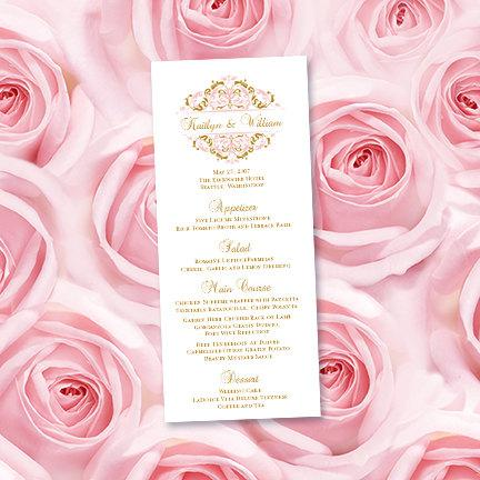 """Wedding - Wedding Menu Card """"Grace"""" Blush Pink & Gold Editable Word.doc Printable Template Instant Download Order Any 1 or 2 Colors DIY You Print"""