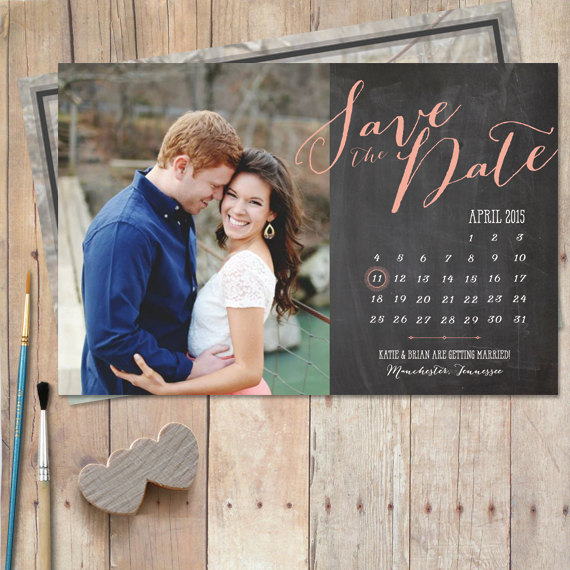 Hochzeit - Calendar-Save-The-Date, Save The Date Chalkboard - Postcard or Magnet - New Calendar