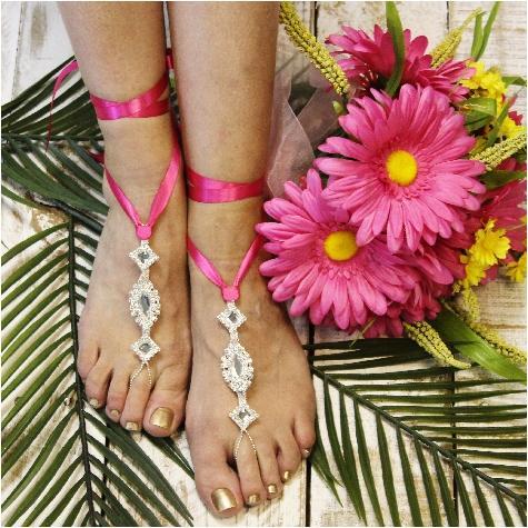 644d96266979b Hot Pink / Fucshia Barefoot Sandals For Wedding #2503762 - Weddbook