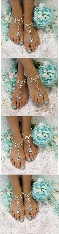 Wedding - Infinity rhinestone and pearl barefoot sandals