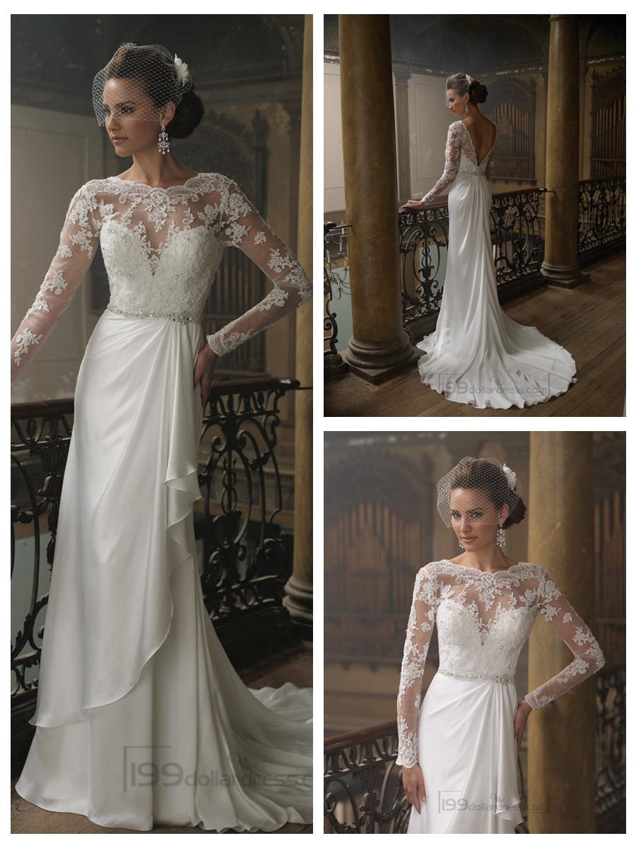Boda - Sheath Bateau Neckline Ruffled V-back Wedding Dresses with Lace Long Sleeves