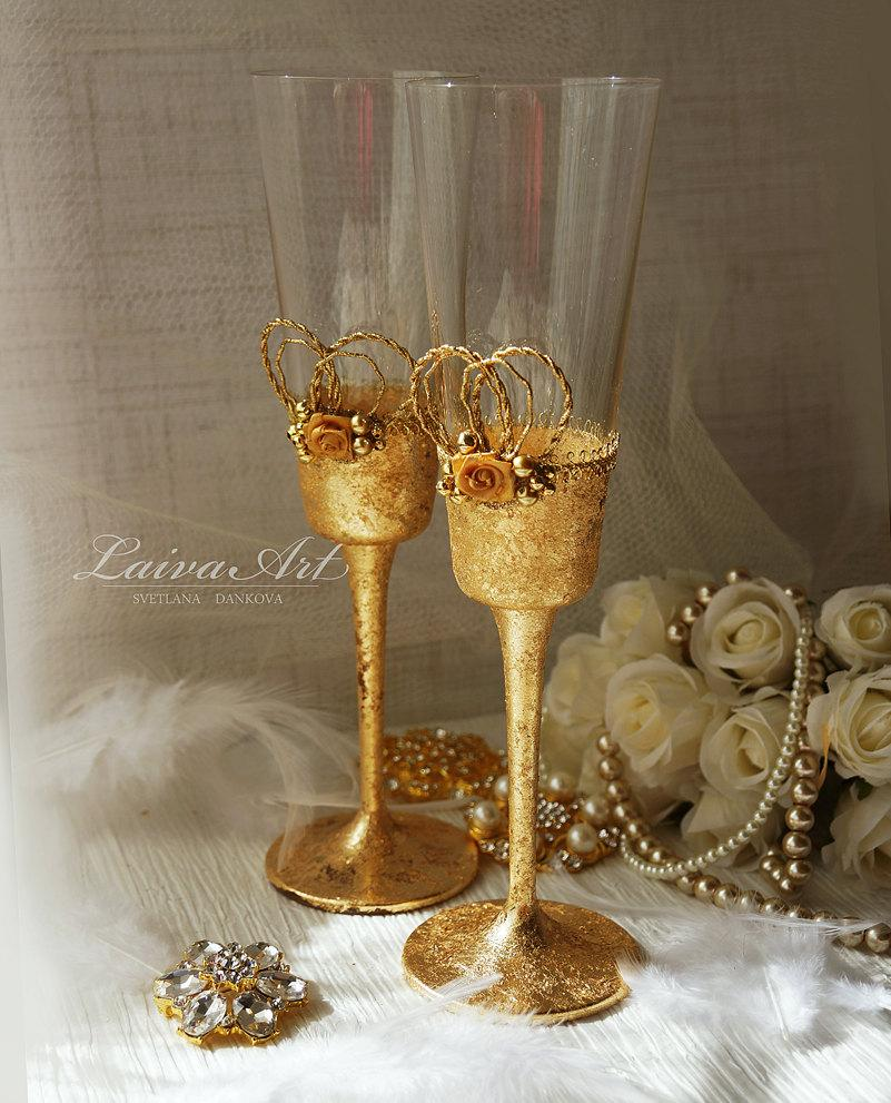 Свадьба - Gold Wedding Champagne Flutes Wedding Champagne Glasses Gatsby Style