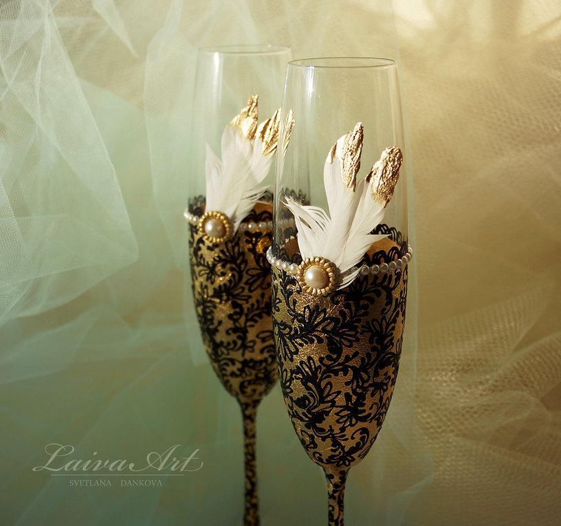 Свадьба - Gold Wedding Champagne Flutes Wedding Champagne Glasses Gatsby Style Wedding Toasting Flutes Gold and Black Wedding